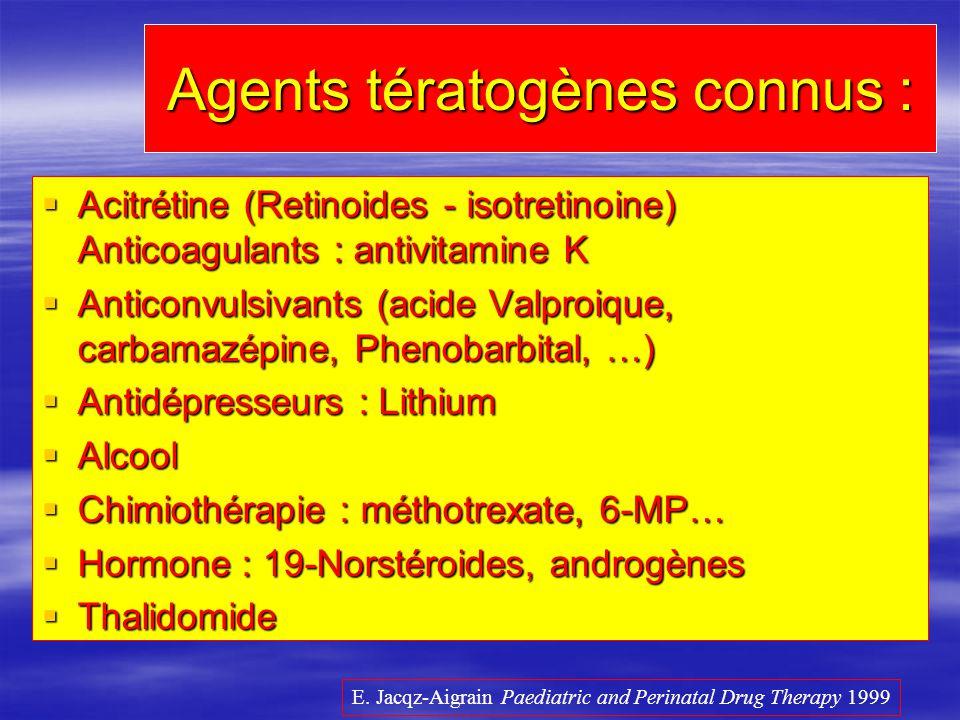Agents tératogènes connus : Acitrétine (Retinoides - isotretinoine) Anticoagulants : antivitamine K Acitrétine (Retinoides - isotretinoine) Anticoagul