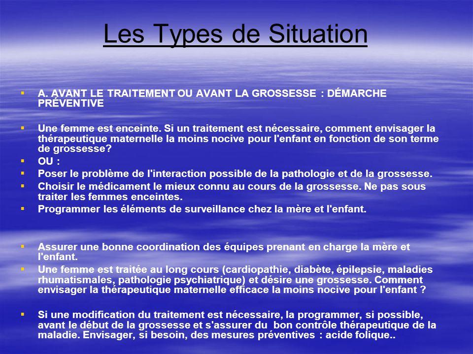 Les Types de Situation A. AVANT LE TRAITEMENT OU AVANT LA GROSSESSE : DÉMARCHE PRÉVENTIVE Une femme est enceinte. Si un traitement est nécessaire, com
