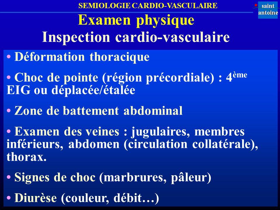 SEMIOLOGIE CARDIO-VASCULAIRE Examen physique Pression artérielle Résultats PA normale de ladulte (brassard) : PA systolique < 140 mm Hg ET PA diastolique < 90 mm Hg Pression artérielle (PA) normale de ladulte (MAPA) : PA diurne < 135/85 mm Hg ET PA nocturne < 120/75 mm Hg Pression artérielle (PA) normale de ladulte diabétique ou insuffisant rénal (brassard) : PA systolique < 130 mm Hg ET PA diastolique < 80 mm Hg