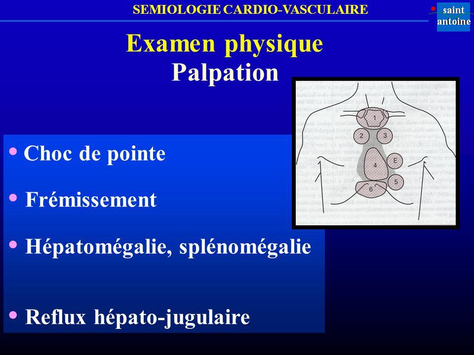 SEMIOLOGIE CARDIO-VASCULAIRE Examen physique Auscultation cardiaque Foyer aortique Foyer mitral Foyer pulmonaire Foyer xiphoïdien Autres (BGS, SS…) FAFP BGS Apex FT SS B1, B2, B3, B4, clics….