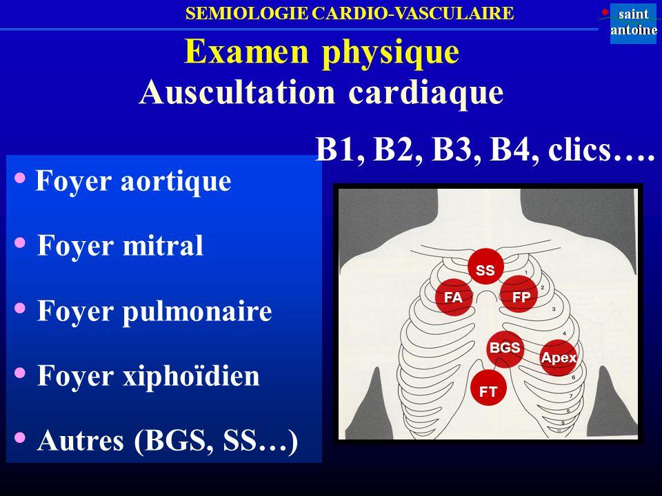 SEMIOLOGIE CARDIO-VASCULAIRE Examen physique Auscultation cardiaque Foyer aortique: 2 ème espace intercostal Dt Foyer pulmonaire: 2 ème espace intercostal G Foyer tricuspide : 4 ème espace intercostal gauche à sa partie interne (adjacente au sternum) Foyer mitral: Apex