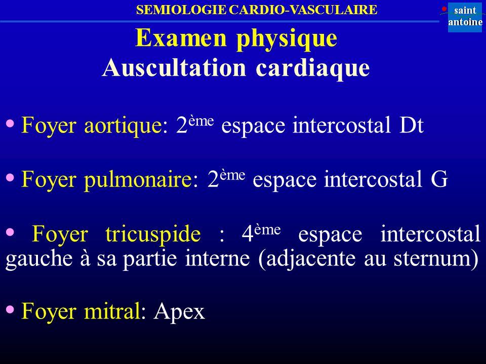 SEMIOLOGIE CARDIO-VASCULAIRE Examen vasculaire (consigner sur un schéma daté)