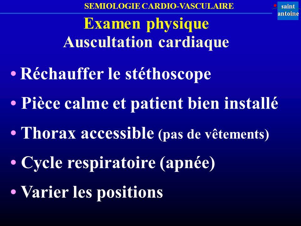 SEMIOLOGIE CARDIO-VASCULAIRE Examen physique Auscultation cardiaque Irradiations des souffles