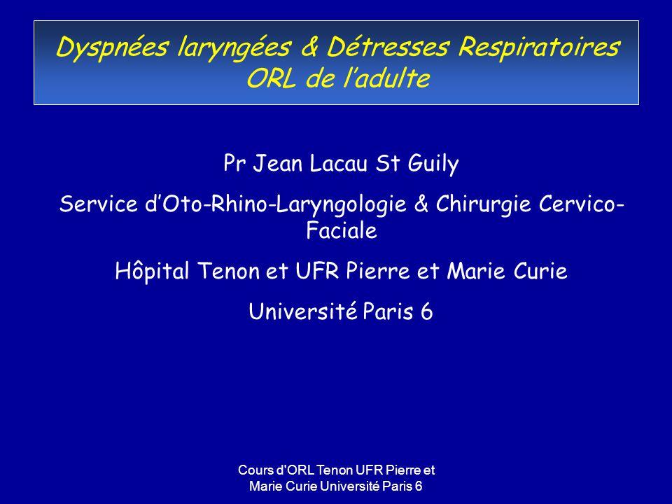Cours d'ORL Tenon UFR Pierre et Marie Curie Université Paris 6 Dyspnées laryngées & Détresses Respiratoires ORL de ladulte Pr Jean Lacau St Guily Serv