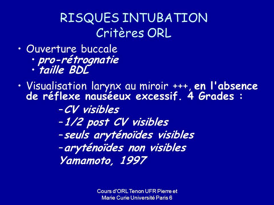 Cours d'ORL Tenon UFR Pierre et Marie Curie Université Paris 6 Ouverture buccale pro-rétrognatie taille BDL Visualisation larynx au miroir +++, en l'a