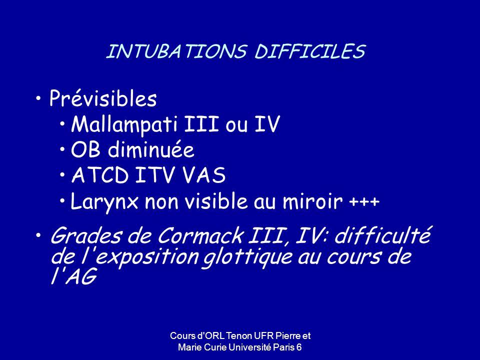Cours d'ORL Tenon UFR Pierre et Marie Curie Université Paris 6 INTUBATIONS DIFFICILES Prévisibles Mallampati III ou IV OB diminuée ATCD ITV VAS Larynx