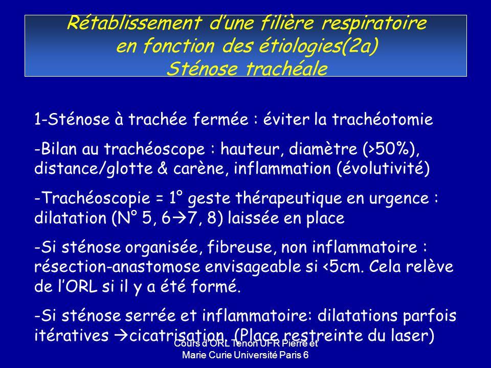 Cours d ORL Tenon UFR Pierre et Marie Curie Université Paris 6 Rétablissement dune filière respiratoire en fonction des étiologies(2a) Sténose trachéale 1-Sténose à trachée fermée : éviter la trachéotomie -Bilan au trachéoscope : hauteur, diamètre (>50%), distance/glotte & carène, inflammation (évolutivité) -Trachéoscopie = 1° geste thérapeutique en urgence : dilatation (N° 5, 6 7, 8) laissée en place -Si sténose organisée, fibreuse, non inflammatoire : résection-anastomose envisageable si <5cm.
