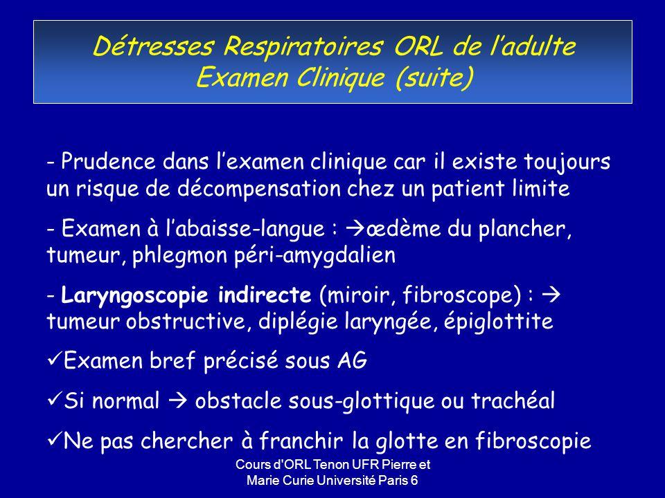 Cours d ORL Tenon UFR Pierre et Marie Curie Université Paris 6 Rétablissement dune filière respiratoire en fonction des étiologies(6) Epiglottite (« margellite ») - chez ladulte, évoquer a) une cause bactérienne (strepto, hémophilus, anaérobies) b) laryngite herpétique -Rechercher les facteurs favorisants: HIV, diabète, K, ATCD Tt K, toute immunodépression, âge -Aspect clinique : oedème de toute la margelle -Cette affection reste actuelle chez ladulte -Traitement premier: antibio après hémoc, surveillance en soins intensifs, intubation non systématique -Intubation si dégradation respiratoire