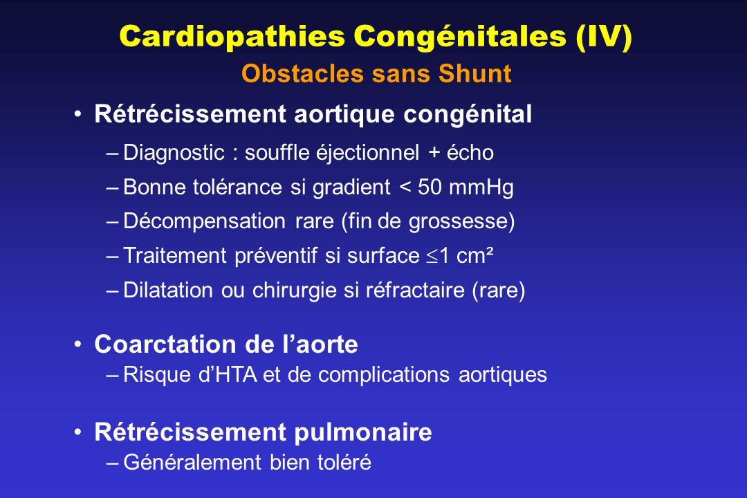 Cardiopathies Congénitales (IV) Obstacles sans Shunt Rétrécissement aortique congénital –Diagnostic : souffle éjectionnel + écho –Bonne tolérance si gradient < 50 mmHg –Décompensation rare (fin de grossesse) –Traitement préventif si surface 1 cm² –Dilatation ou chirurgie si réfractaire (rare) Coarctation de laorte –Risque dHTA et de complications aortiques Rétrécissement pulmonaire –Généralement bien toléré