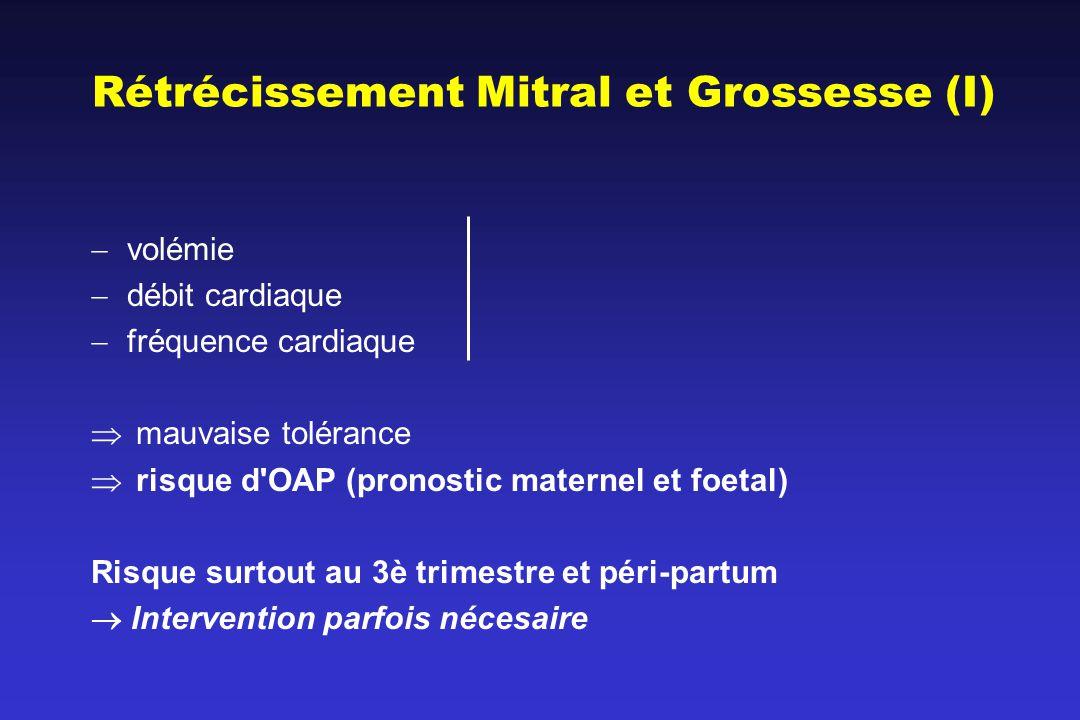 Rétrécissement Mitral et Grossesse (I) volémie débit cardiaque fréquence cardiaque mauvaise tolérance risque d OAP (pronostic maternel et foetal) Risque surtout au 3è trimestre et péri-partum Intervention parfois nécesaire