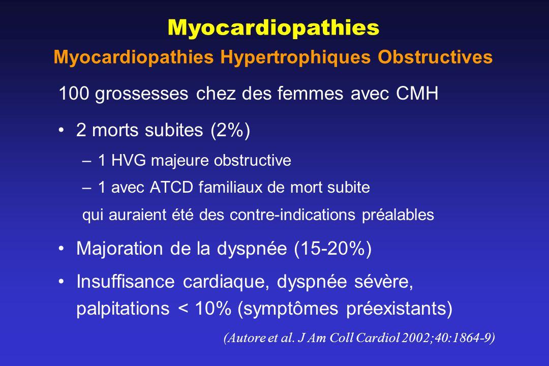 100 grossesses chez des femmes avec CMH 2 morts subites (2%) –1 HVG majeure obstructive –1 avec ATCD familiaux de mort subite qui auraient été des contre-indications préalables Majoration de la dyspnée (15-20%) Insuffisance cardiaque, dyspnée sévère, palpitations < 10% (symptômes préexistants) (Autore et al.