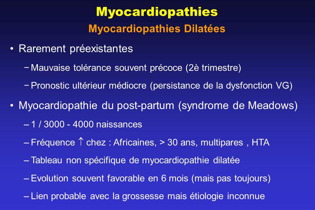 Myocardiopathies Myocardiopathies Dilatées Rarement préexistantes Mauvaise tolérance souvent précoce (2è trimestre) Pronostic ultérieur médiocre (persistance de la dysfonction VG) Myocardiopathie du post-partum (syndrome de Meadows) –1 / 3000 - 4000 naissances –Fréquence chez : Africaines, > 30 ans, multipares, HTA –Tableau non spécifique de myocardiopathie dilatée –Evolution souvent favorable en 6 mois (mais pas toujours) –Lien probable avec la grossesse mais étiologie inconnue