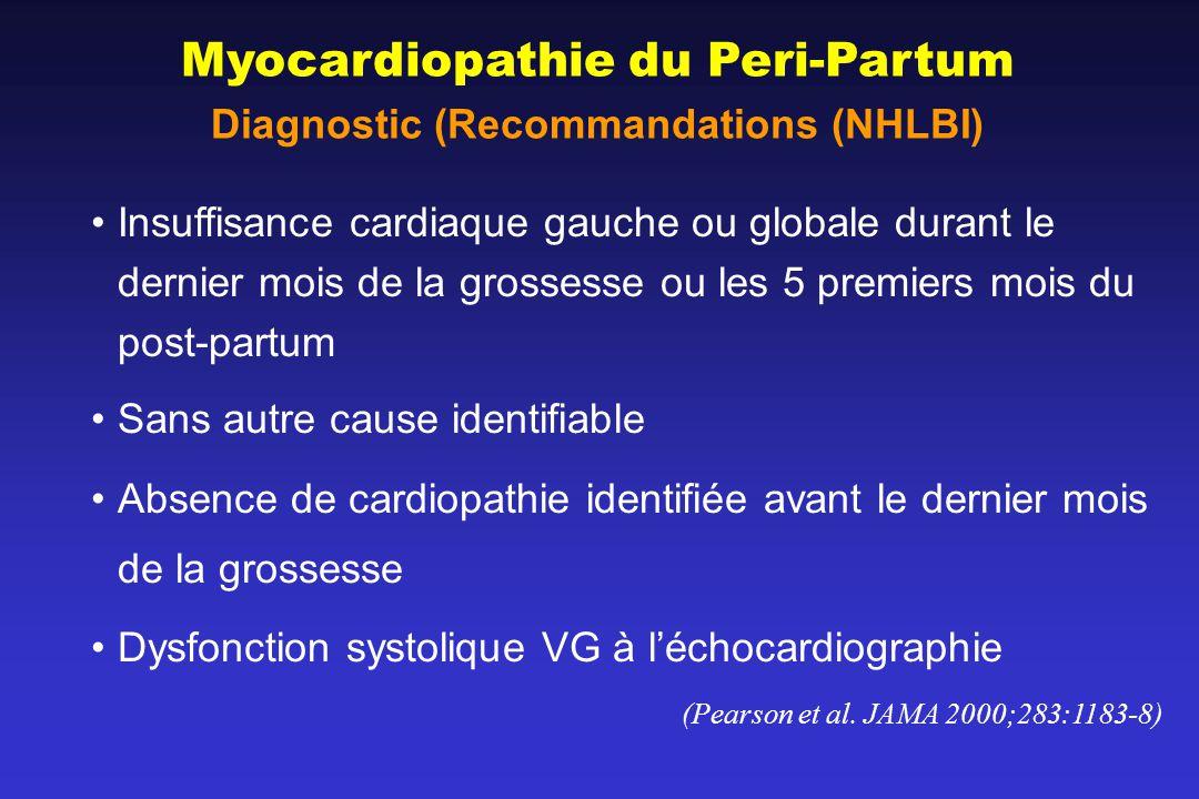 Myocardiopathie du Peri-Partum Diagnostic (Recommandations (NHLBI) Insuffisance cardiaque gauche ou globale durant le dernier mois de la grossesse ou les 5 premiers mois du post-partum Sans autre cause identifiable Absence de cardiopathie identifiée avant le dernier mois de la grossesse Dysfonction systolique VG à léchocardiographie (Pearson et al.
