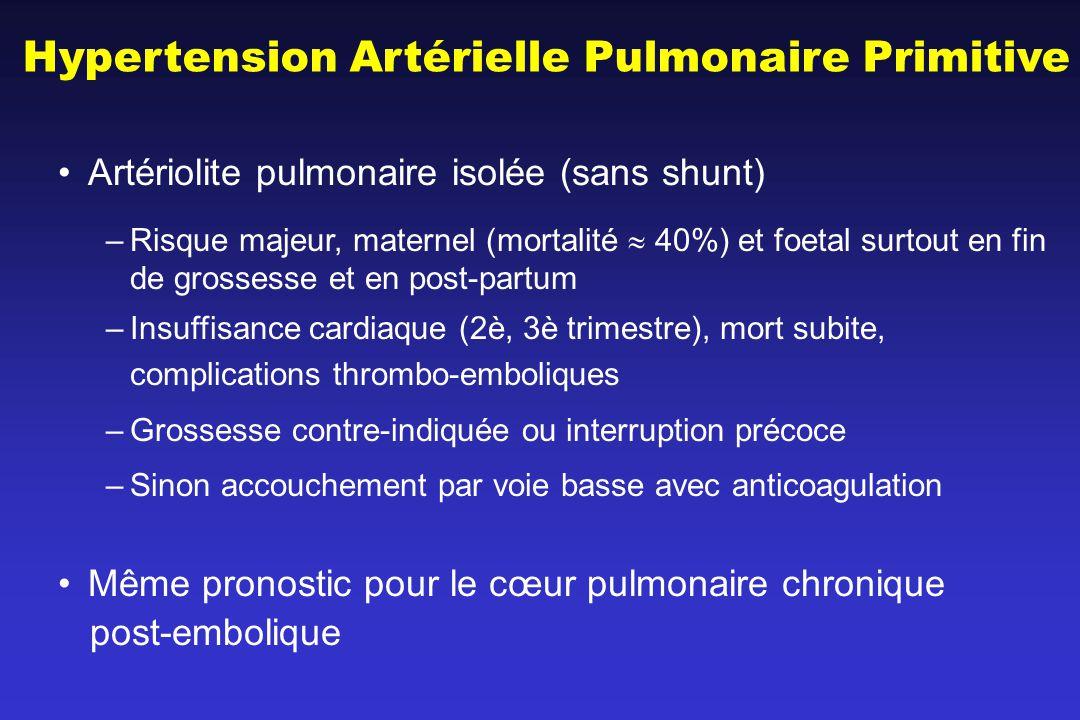 Hypertension Artérielle Pulmonaire Primitive Artériolite pulmonaire isolée (sans shunt) –Risque majeur, maternel (mortalité 40%) et foetal surtout en fin de grossesse et en post-partum –Insuffisance cardiaque (2è, 3è trimestre), mort subite, complications thrombo-emboliques –Grossesse contre-indiquée ou interruption précoce –Sinon accouchement par voie basse avec anticoagulation Même pronostic pour le cœur pulmonaire chronique post-embolique