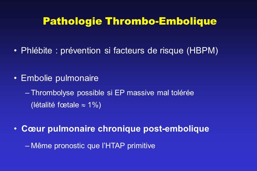 Pathologie Thrombo-Embolique Phlébite : prévention si facteurs de risque (HBPM) Embolie pulmonaire –Thrombolyse possible si EP massive mal tolérée (létalité fœtale 1%) Cœur pulmonaire chronique post-embolique –Même pronostic que lHTAP primitive