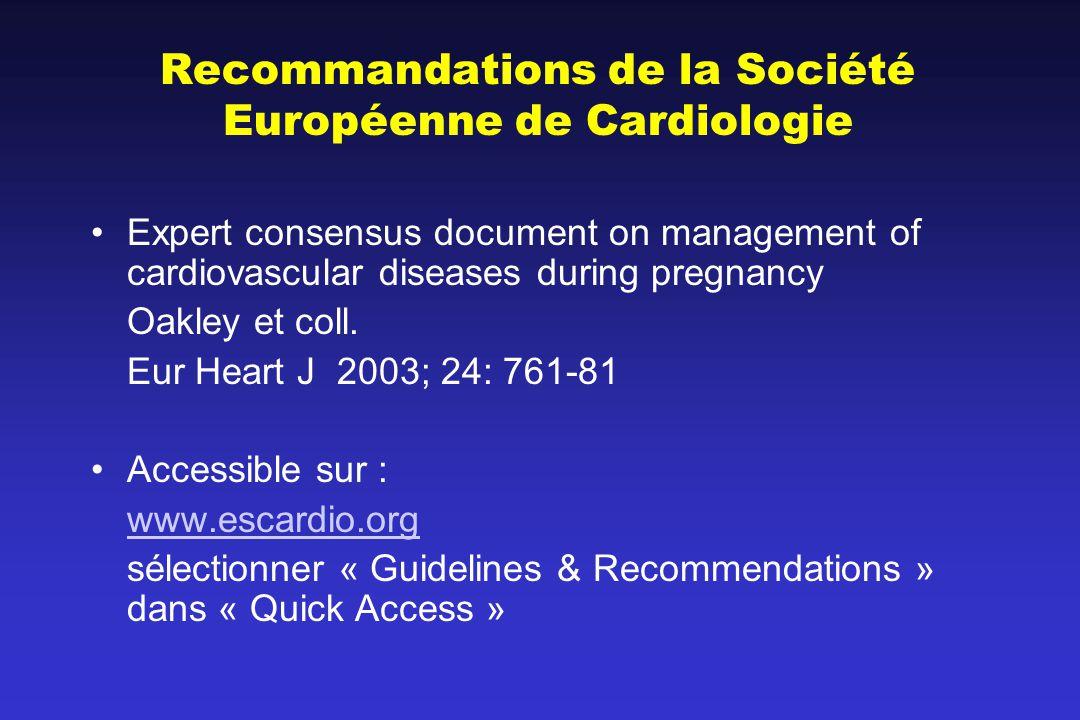 Recommandations de la Société Européenne de Cardiologie Expert consensus document on management of cardiovascular diseases during pregnancy Oakley et coll.