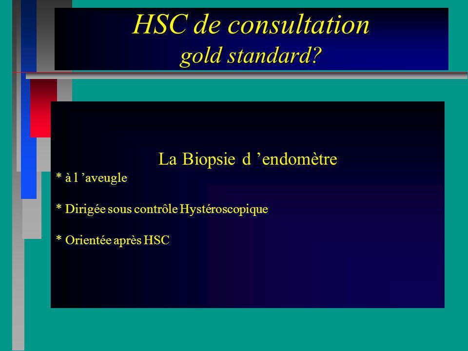 HSC de consultation gold standard? La Biopsie d endomètre * à l aveugle * Dirigée sous contrôle Hystéroscopique * Orientée après HSC