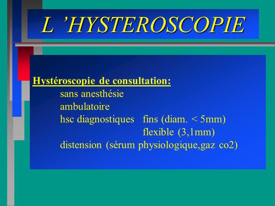 L HYSTEROSCOPIE Hystéroscopie de consultation: sans anesthésie ambulatoire hsc diagnostiques fins (diam. < 5mm) flexible (3,1mm) distension (sérum phy