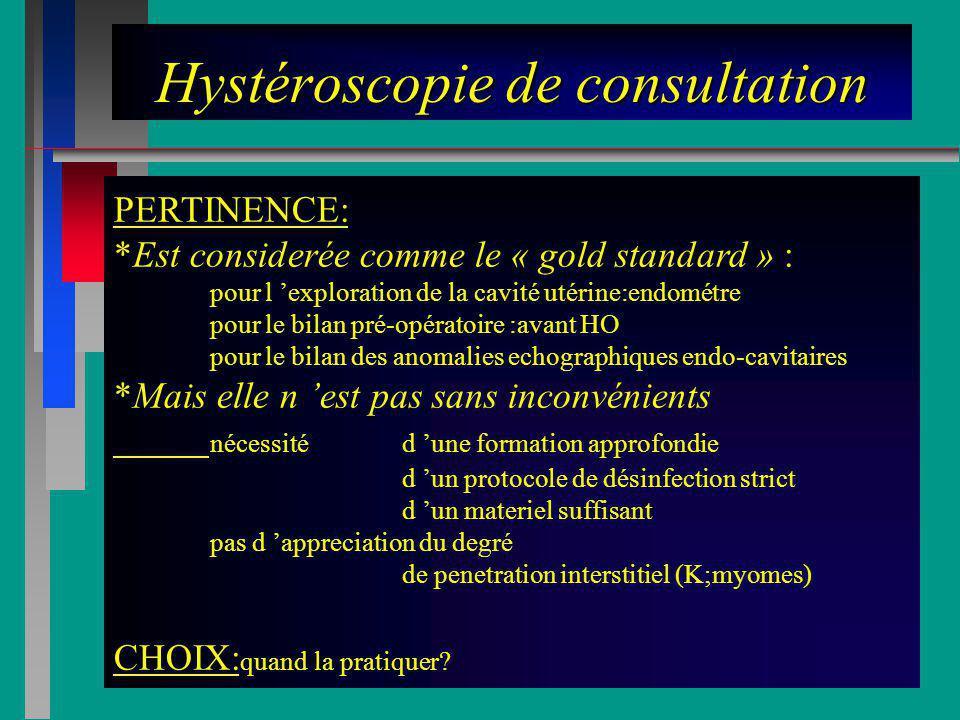 Hystéroscopie de consultation PERTINENCE: *Est considerée comme le « gold standard » : pour l exploration de la cavité utérine:endométre pour le bilan