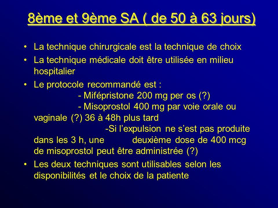 8ème et 9ème SA ( de 50 à 63 jours) La technique chirurgicale est la technique de choix La technique médicale doit être utilisée en milieu hospitalier