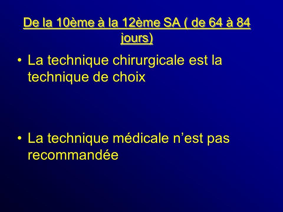 De la 10ème à la 12ème SA ( de 64 à 84 jours) La technique chirurgicale est la technique de choix La technique médicale nest pas recommandée