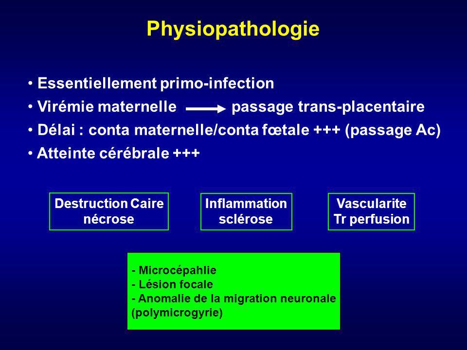 Physiopathologie Essentiellement primo-infection Virémie maternelle passage trans-placentaire Délai : conta maternelle/conta fœtale +++ (passage Ac) A