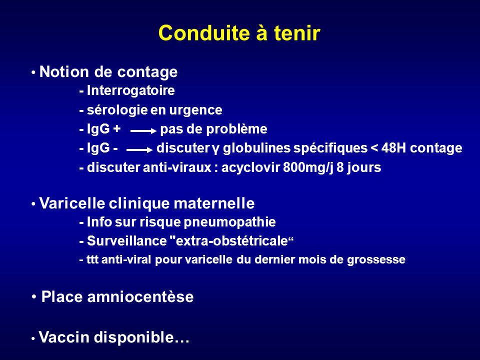 Conduite à tenir Notion de contage - Interrogatoire - sérologie en urgence - IgG + pas de problème - IgG - discuter γ globulines spécifiques < 48H con