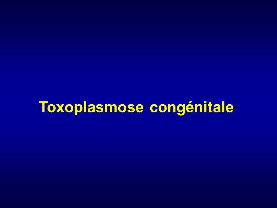 Epidémiologie 1 ère infection parasitaire congénitale Protozoaire : toxoplasma gondii Primo-infection pdt le grossesse : transmission fœtale Conséquences : - atteinte neurologique - atteinte oculaire (rechute à lgt terme+++) Couverture immunité acquise ~ 55 % en Dépistage sytématique en France depuis 1978 2% sero-conversion pdt grossesse femmes NI ~ 1500 cas infection congénitale / an en france