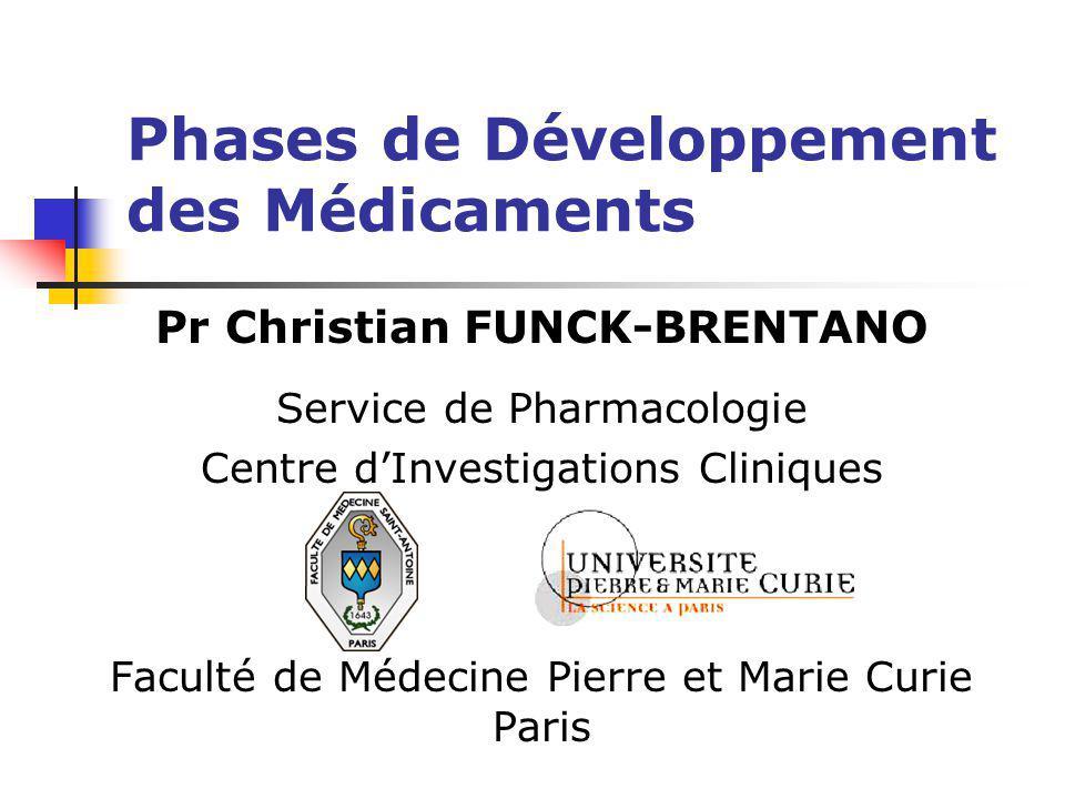Phases de Développement des Médicaments Pr Christian FUNCK-BRENTANO Service de Pharmacologie Centre dInvestigations Cliniques Faculté de Médecine Pier