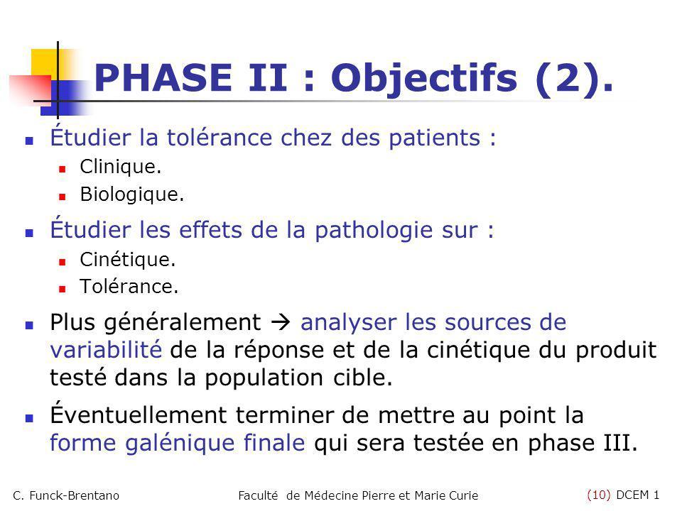(10) DCEM 1 C. Funck-BrentanoFaculté de Médecine Pierre et Marie Curie Étudier la tolérance chez des patients : Clinique. Biologique. Étudier les effe