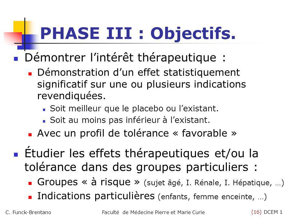 (16) DCEM 1 C. Funck-BrentanoFaculté de Médecine Pierre et Marie Curie PHASE III : Objectifs. Démontrer lintérêt thérapeutique : Démonstration dun eff