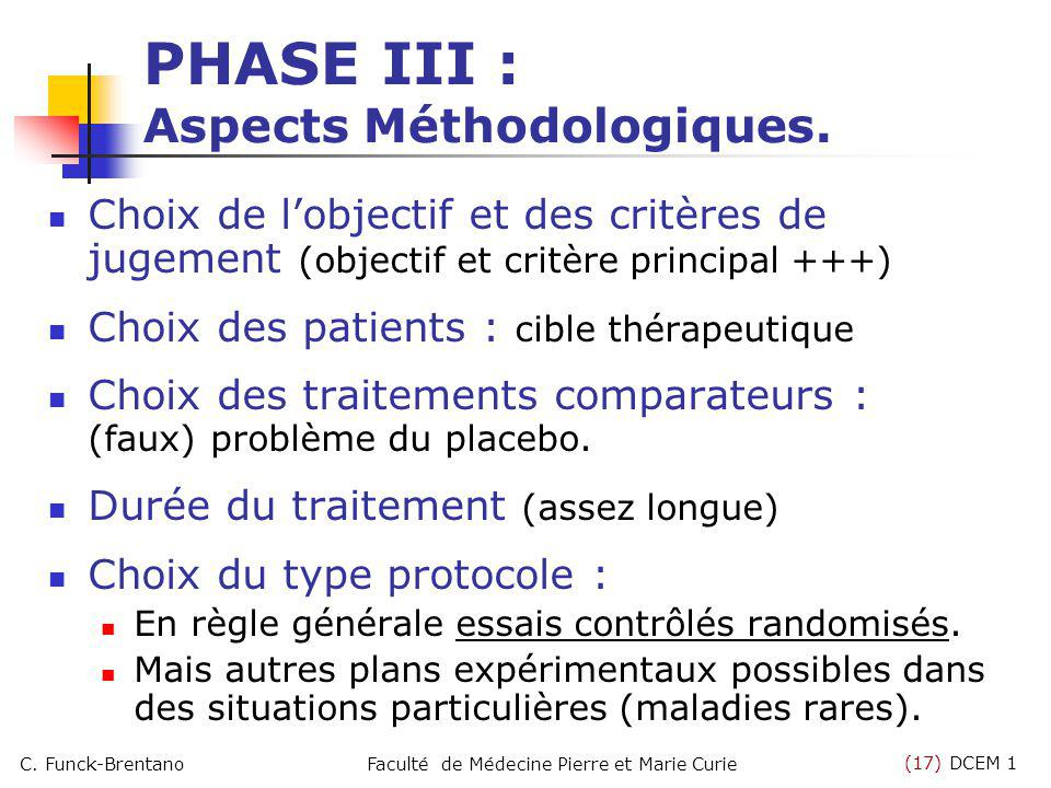 (17) DCEM 1 C. Funck-BrentanoFaculté de Médecine Pierre et Marie Curie PHASE III : Aspects Méthodologiques. Choix de lobjectif et des critères de juge