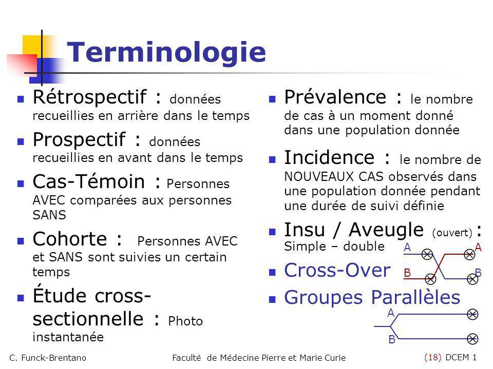 (18) DCEM 1 C. Funck-BrentanoFaculté de Médecine Pierre et Marie Curie Terminologie Rétrospectif : données recueillies en arrière dans le temps Prospe