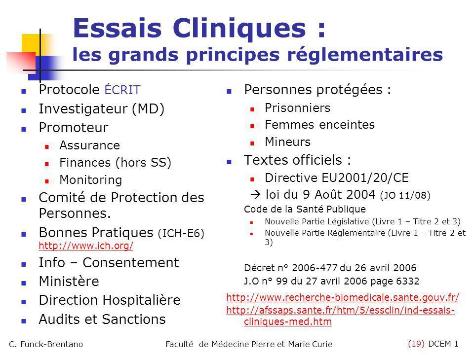 (19) DCEM 1 C. Funck-BrentanoFaculté de Médecine Pierre et Marie Curie Essais Cliniques : les grands principes réglementaires Protocole ÉCRIT Investig