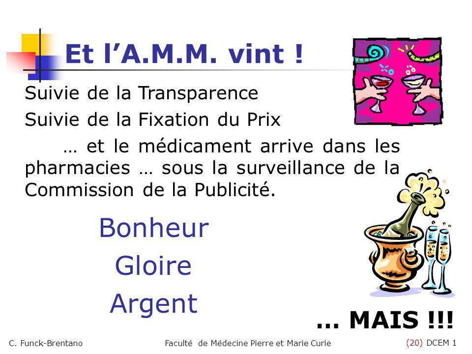 (20) DCEM 1 C. Funck-BrentanoFaculté de Médecine Pierre et Marie Curie Et lA.M.M. vint ! Bonheur Gloire Argent … MAIS !!! Suivie de la Transparence Su
