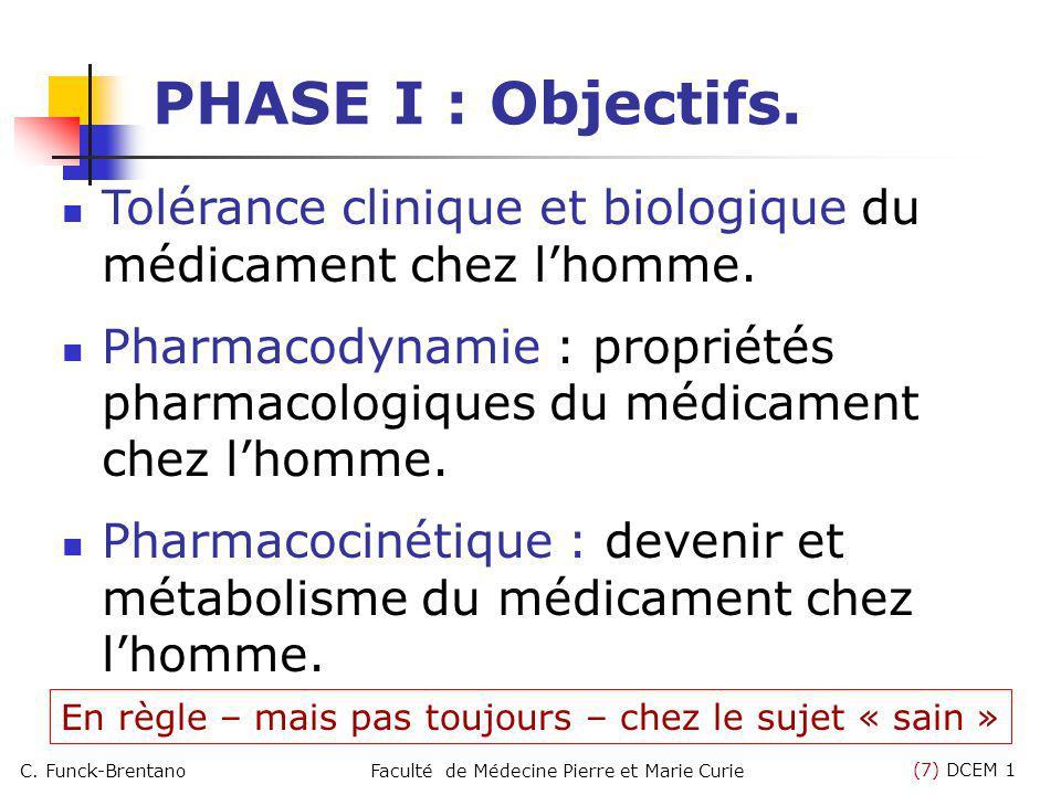 (7) DCEM 1 C. Funck-BrentanoFaculté de Médecine Pierre et Marie Curie PHASE I : Objectifs. Tolérance clinique et biologique du médicament chez lhomme.