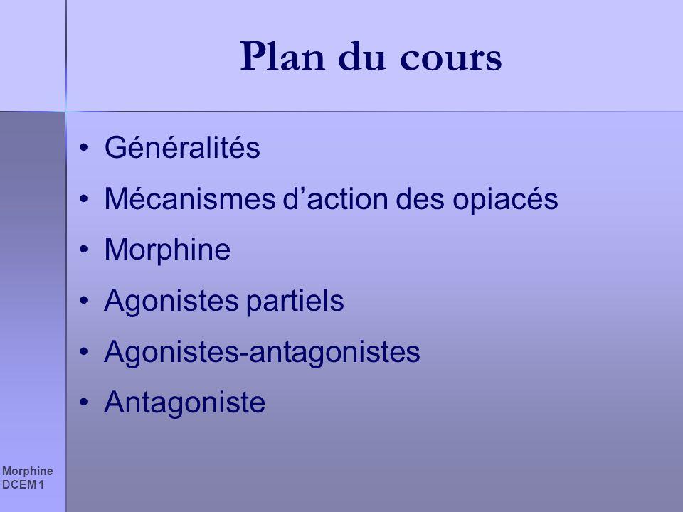 Morphine DCEM 1 Plan du cours Généralités Mécanismes daction des opiacés Morphine Agonistes partiels Agonistes-antagonistes Antagoniste