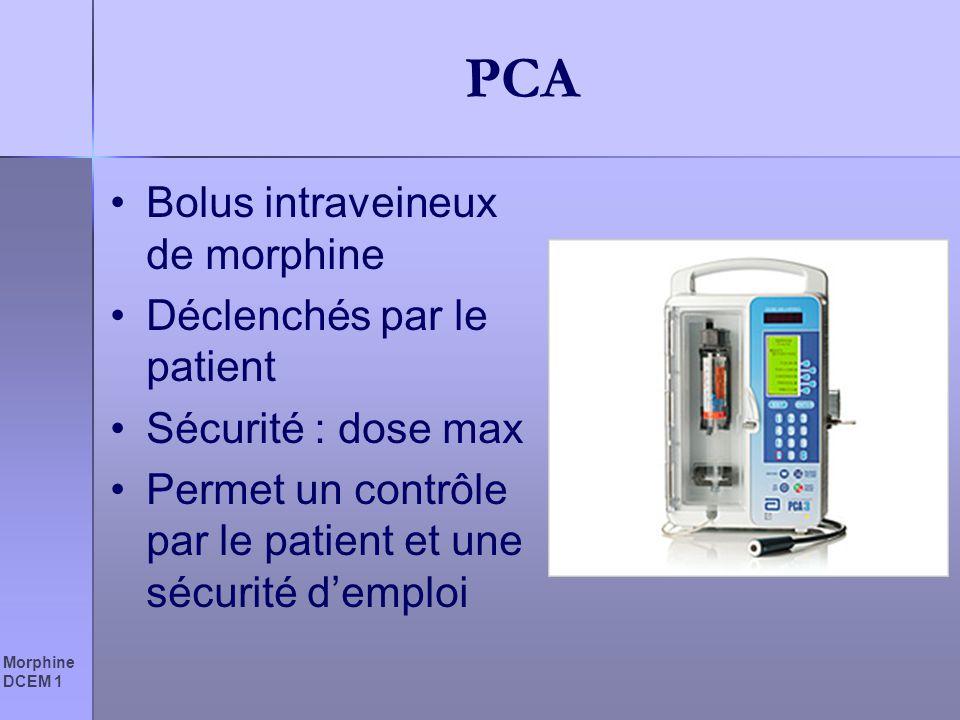 Morphine DCEM 1 PCA Bolus intraveineux de morphine Déclenchés par le patient Sécurité : dose max Permet un contrôle par le patient et une sécurité dem