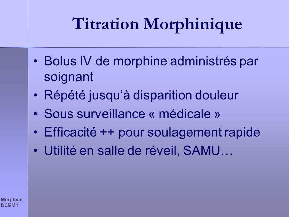 Morphine DCEM 1 Titration Morphinique Bolus IV de morphine administrés par soignant Répété jusquà disparition douleur Sous surveillance « médicale » E