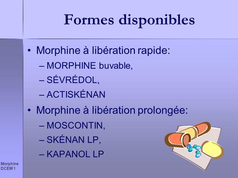 Morphine DCEM 1 Formes disponibles Morphine à libération rapide: –MORPHINE buvable, –SÉVRÉDOL, –ACTISKÉNAN Morphine à libération prolongée: –MOSCONTIN