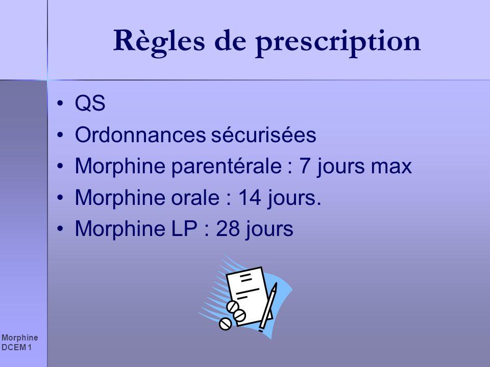 Morphine DCEM 1 Règles de prescription QS Ordonnances sécurisées Morphine parentérale : 7 jours max Morphine orale : 14 jours. Morphine LP : 28 jours