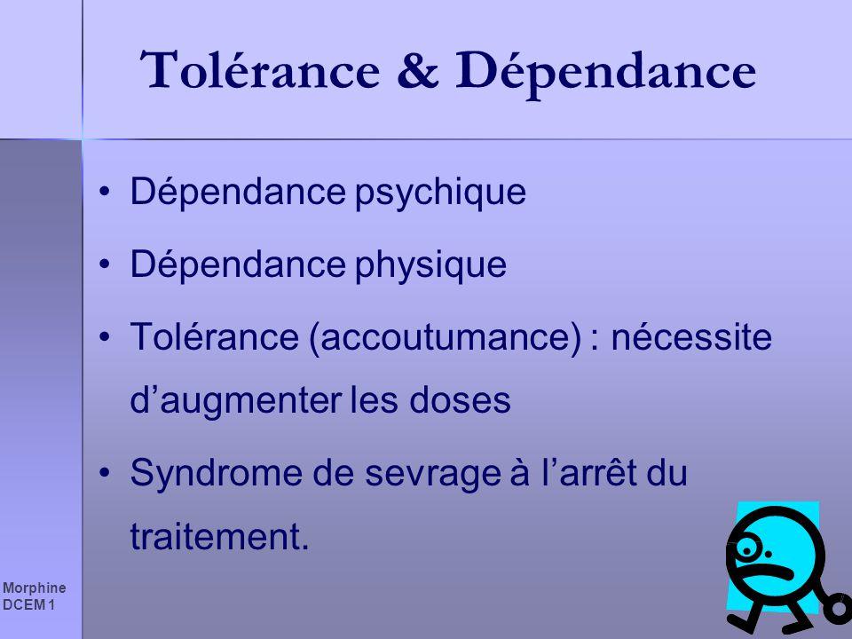 Morphine DCEM 1 Tolérance & Dépendance Dépendance psychique Dépendance physique Tolérance (accoutumance) : nécessite daugmenter les doses Syndrome de