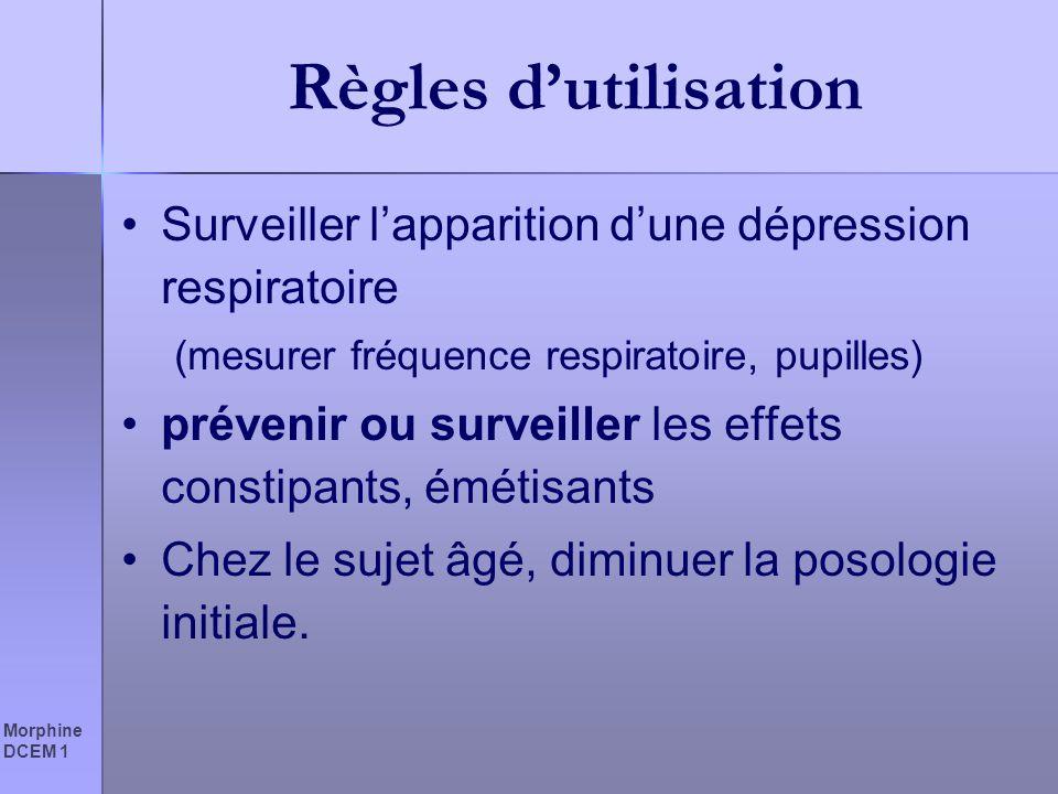 Morphine DCEM 1 Règles dutilisation Surveiller lapparition dune dépression respiratoire (mesurer fréquence respiratoire, pupilles) prévenir ou surveil
