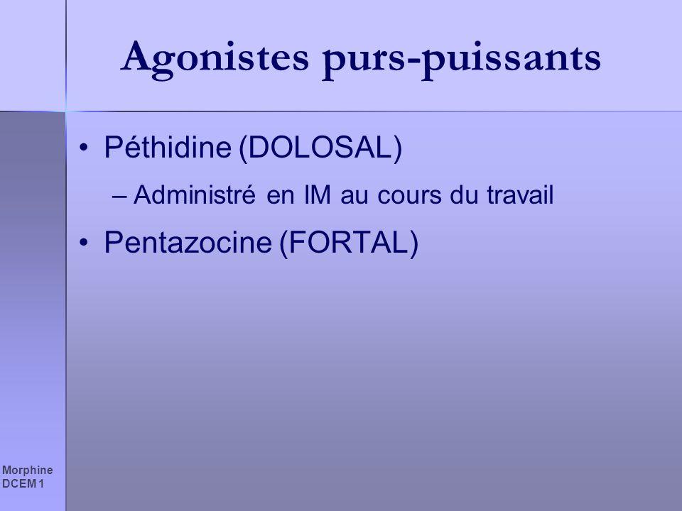 Morphine DCEM 1 Agonistes purs-puissants Péthidine (DOLOSAL) –Administré en IM au cours du travail Pentazocine (FORTAL)