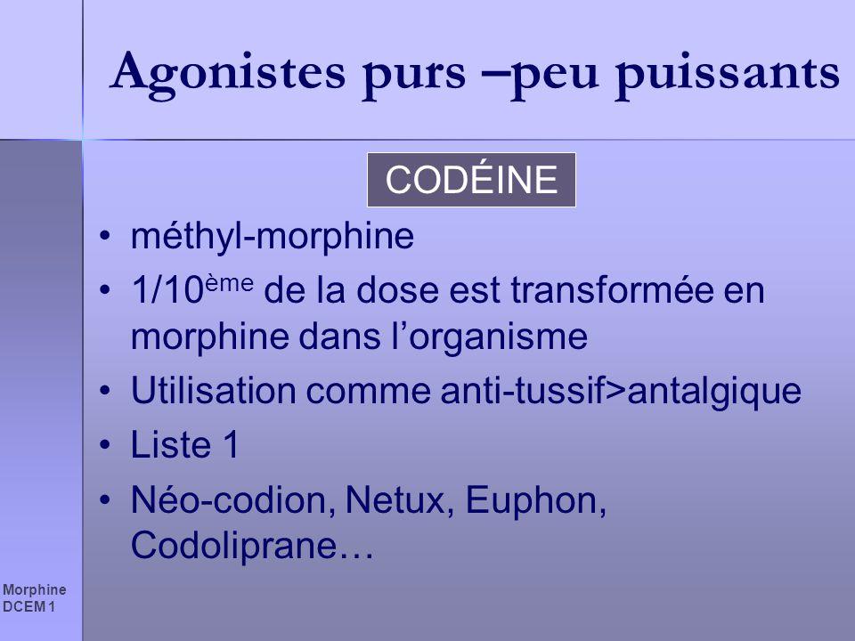 Morphine DCEM 1 Agonistes purs –peu puissants CODÉINE méthyl-morphine 1/10 ème de la dose est transformée en morphine dans lorganisme Utilisation comm