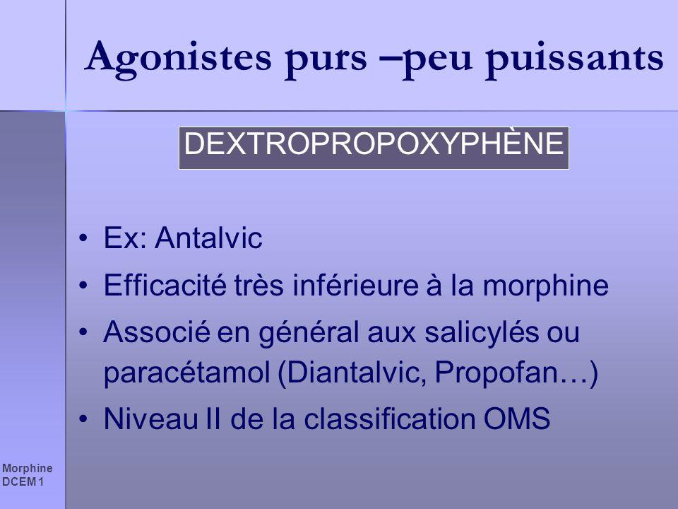 Morphine DCEM 1 Agonistes purs –peu puissants DEXTROPROPOXYPHÈNE Ex: Antalvic Efficacité très inférieure à la morphine Associé en général aux salicylé
