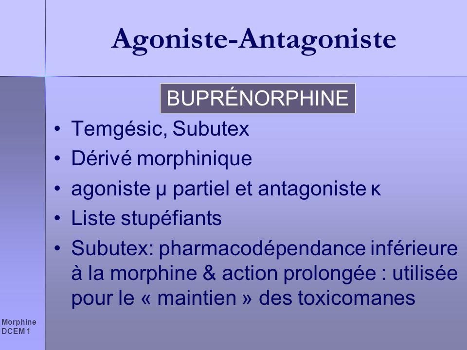 Morphine DCEM 1 Agoniste-Antagoniste BUPRÉNORPHINE Temgésic, Subutex Dérivé morphinique agoniste µ partiel et antagoniste κ Liste stupéfiants Subutex: