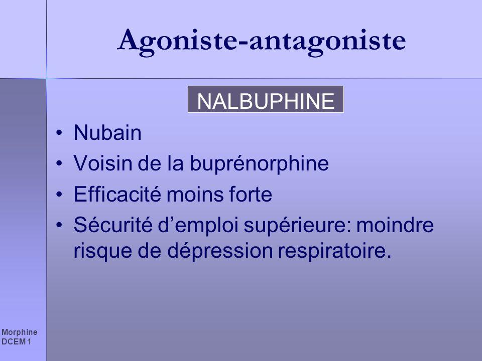 Morphine DCEM 1 Agoniste-antagoniste NALBUPHINE Nubain Voisin de la buprénorphine Efficacité moins forte Sécurité demploi supérieure: moindre risque d