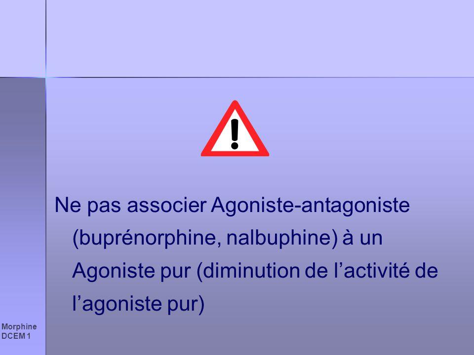 Morphine DCEM 1 Ne pas associer Agoniste-antagoniste (buprénorphine, nalbuphine) à un Agoniste pur (diminution de lactivité de lagoniste pur)