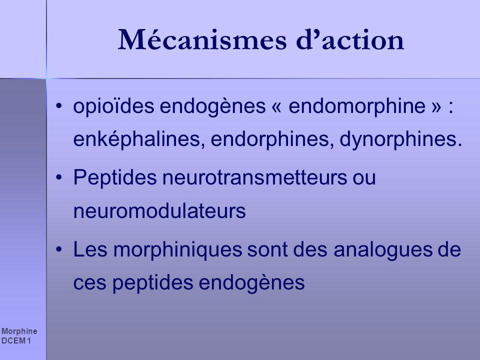 Morphine DCEM 1 Mécanismes daction opioïdes endogènes « endomorphine » : enképhalines, endorphines, dynorphines. Peptides neurotransmetteurs ou neurom